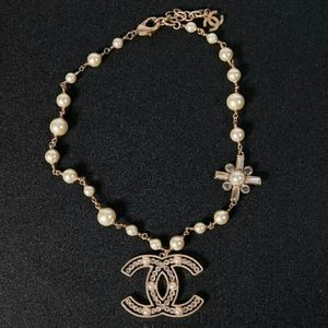 CHANEL Gold Pearly White & Crystal Necklace